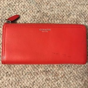 COACH coral zipper wallet